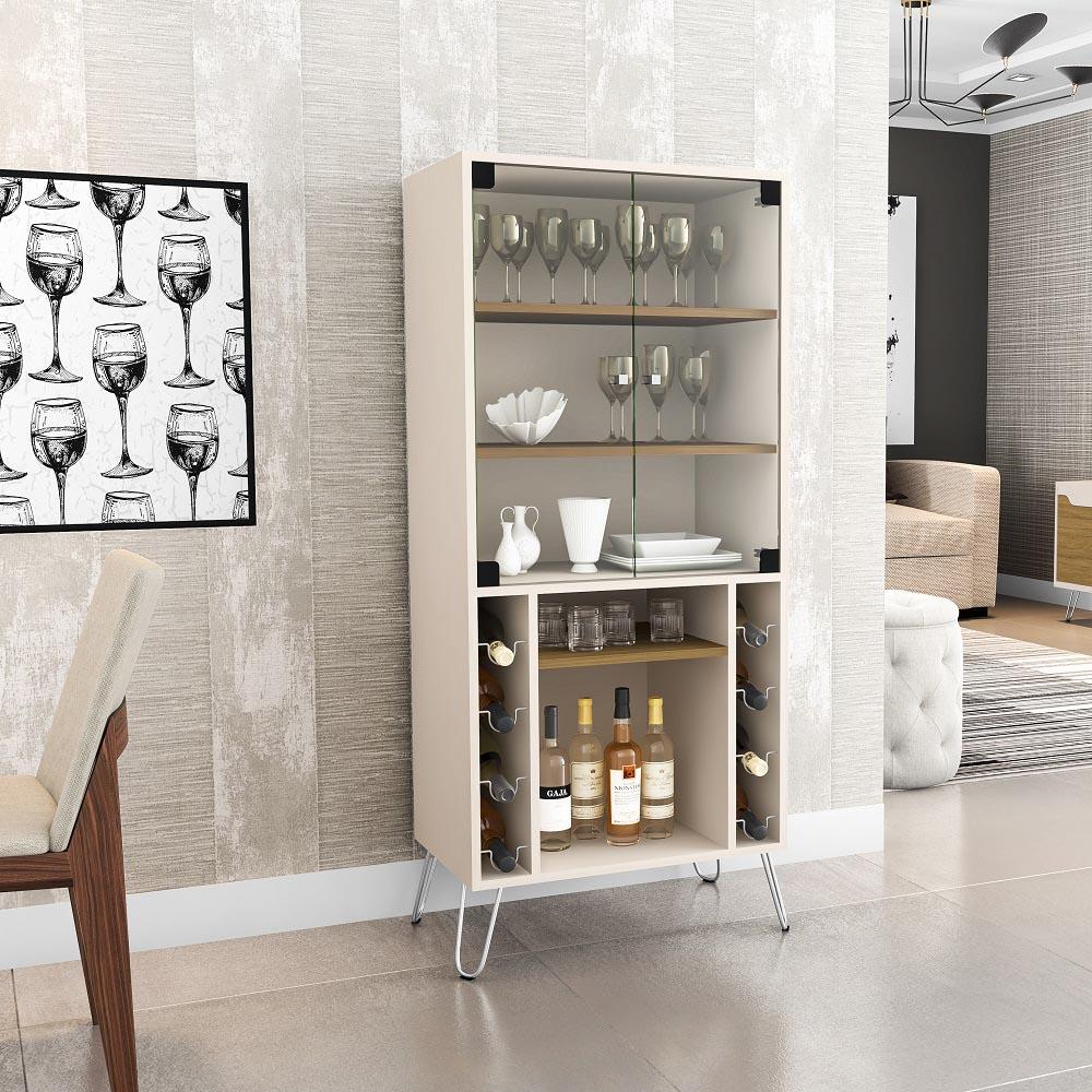 Cristaleira Scala com 2 Portas de Vidro e Adega Off White e Cinamomo