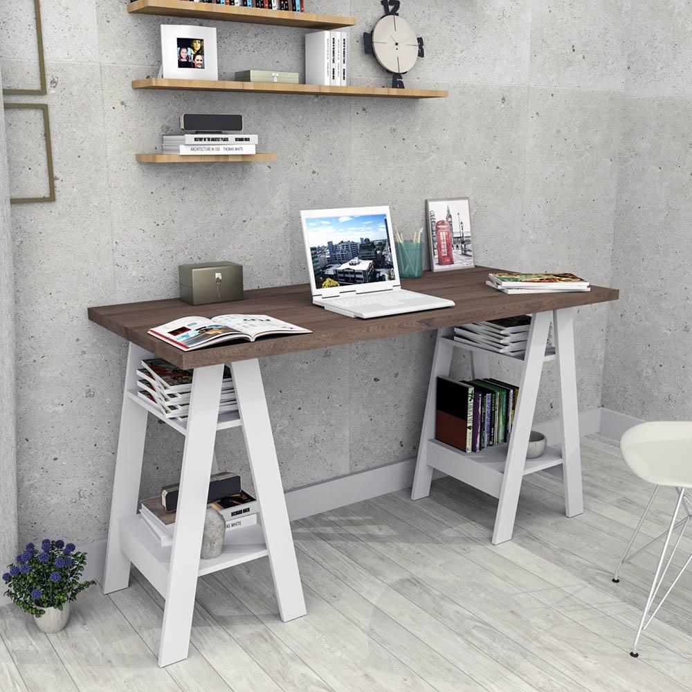 Escrivaninha com 04 Prateleiras Self Nogueira e Branco ESC3003-50-10 Appunto
