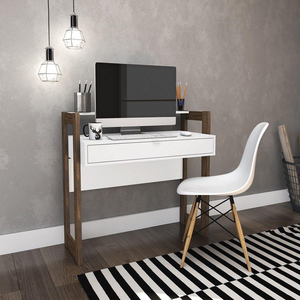 Escrivaninha com 1 Gaveta Az1007 Tecno Mobili Branco e Nogal