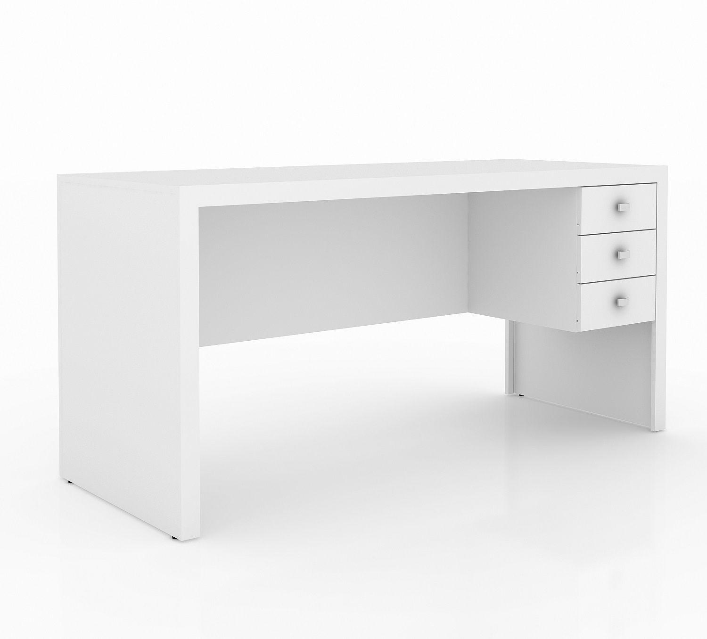 Escrivaninha com 3 Gavetas e Montagem Reversível ME4113 Tecno Mobili Branco