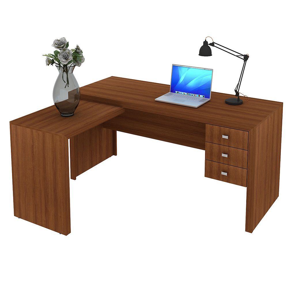 Escrivaninha de 3 Gavetas com Montagem Reversível ME4106 Tecno Mobili Amêndoa
