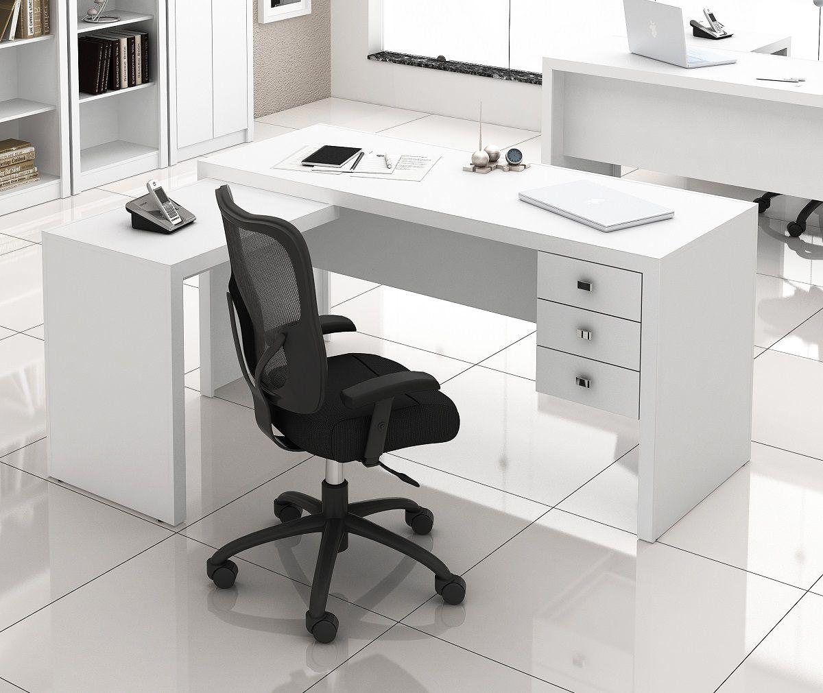 Escrivaninha de 3 Gavetas com Montagem Reversível ME4106 Tecno Mobili Branco