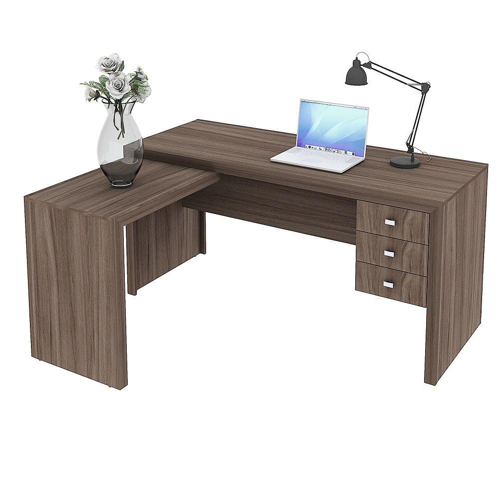 Escrivaninha de 3 Gavetas com Montagem Reversível ME4106 Tecno Mobili Carvalho