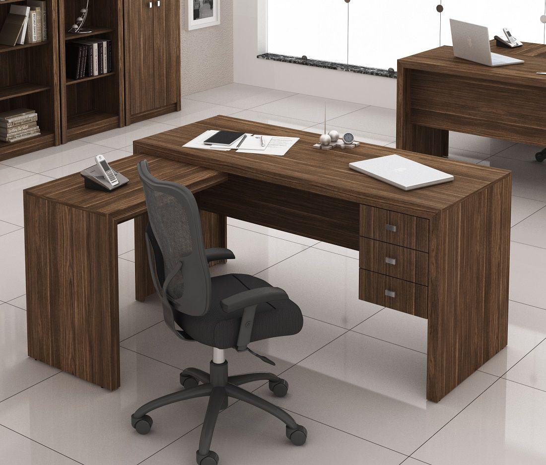 Escrivaninha de 3 Gavetas com Montagem Reversível ME4106 Tecno Mobili Nogal