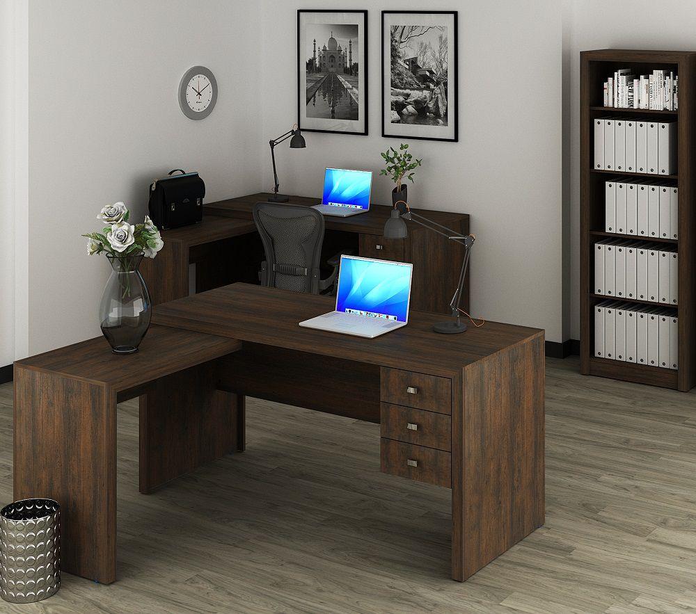 Escrivaninha de 3 Gavetas com Montagem Reversível ME4106 Tecno Mobili Rústico