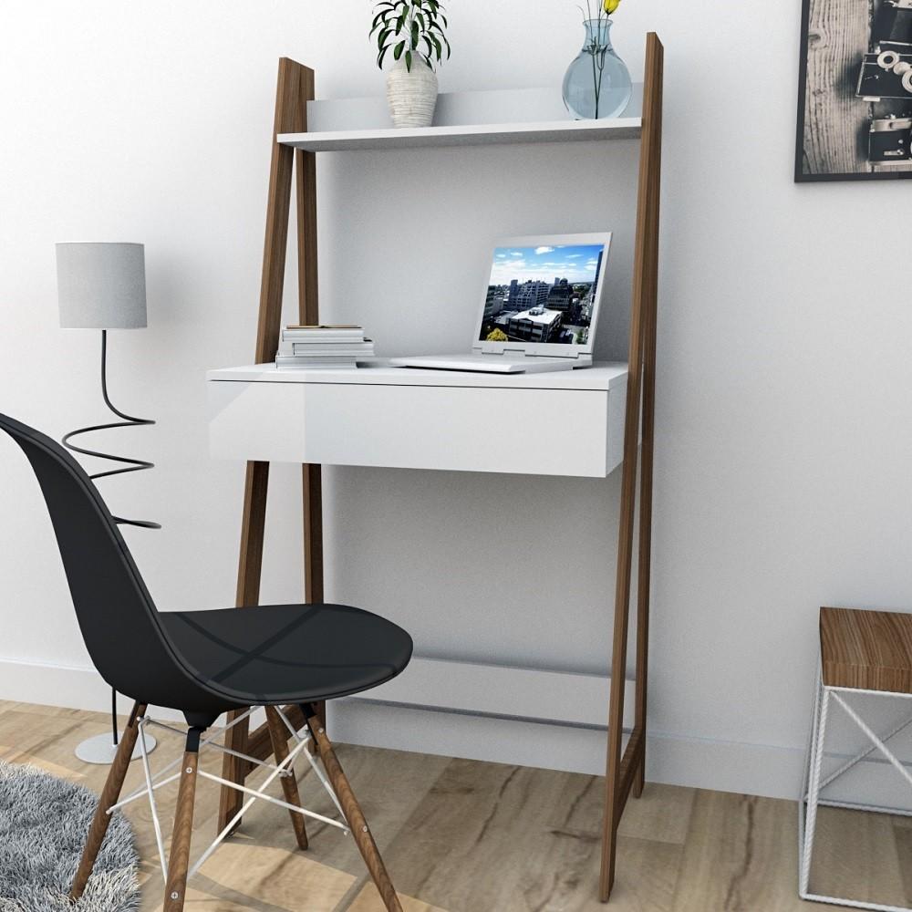 Escrivaninha Estante com 1 Gaveta Urban Branco e Castanho ESC4001-10-30 Appunto