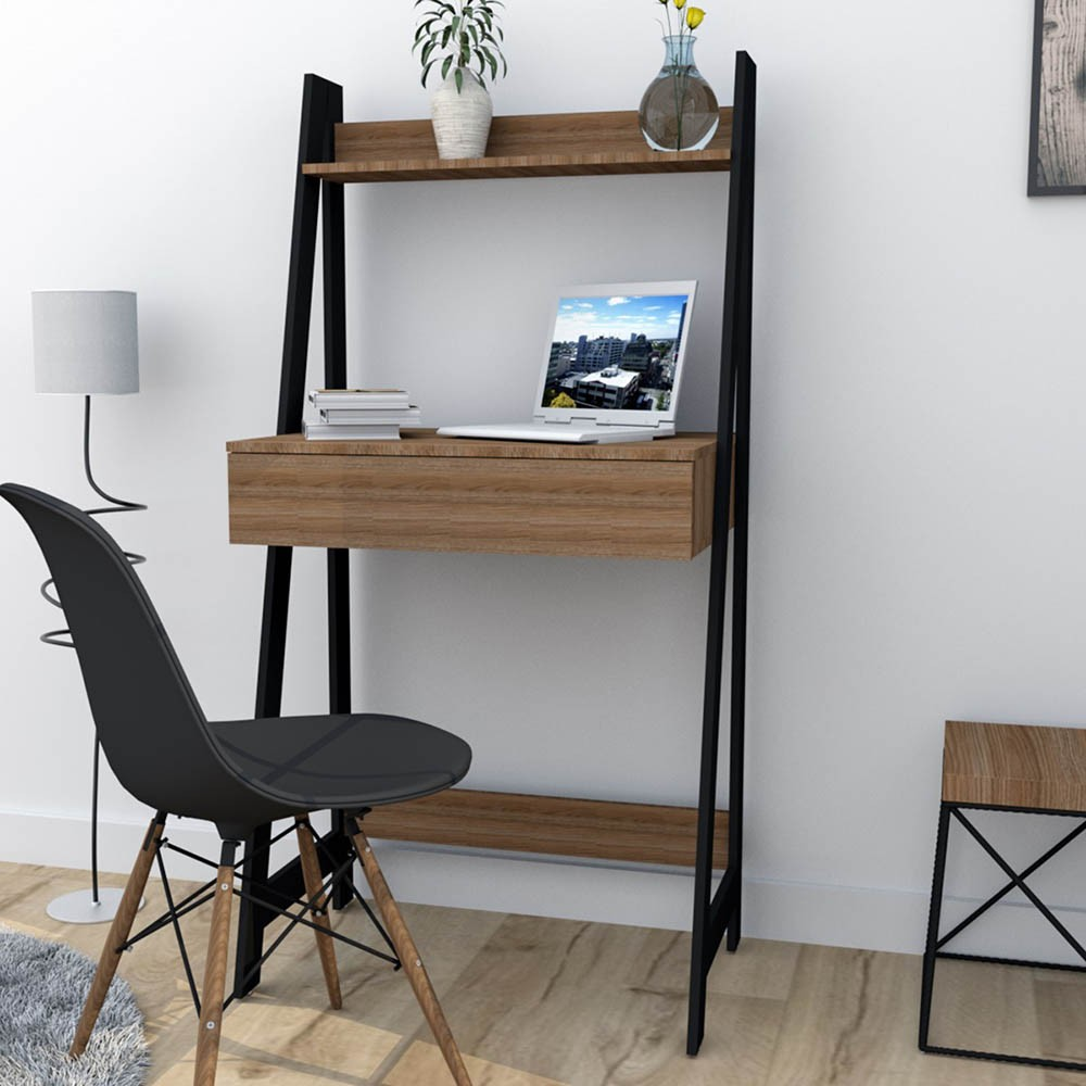 Escrivaninha Estante com 1 Gaveta Urban Preto e Castanho ESC4001-30-90  Appunto