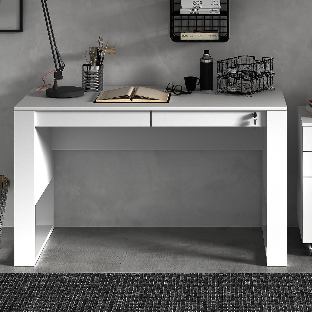 Escrivaninha Mesa de Escritório com Gavetas ME4144 Branco Tecno Mobili