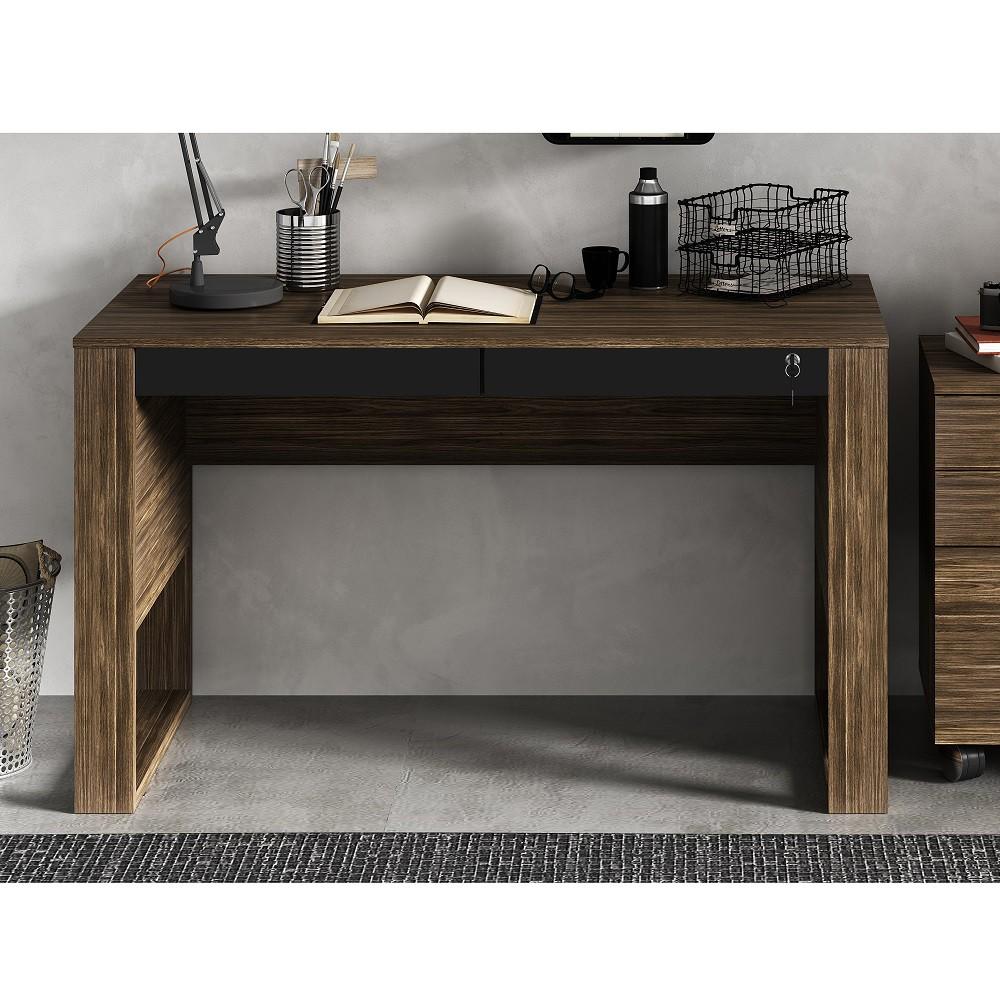 Escrivaninha Mesa de Escritório com Gavetas ME4144 Nogal e Preto Tecno Mobili