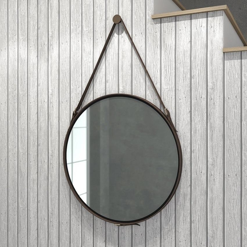 Espelho Redondo 58cm Decorativo com Alça Preto