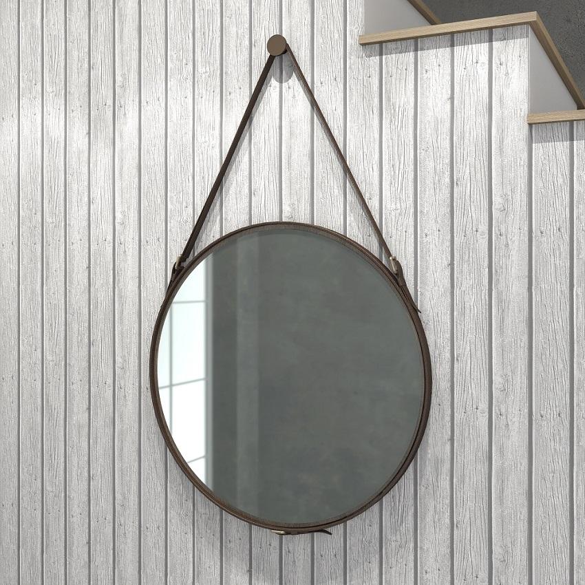 Espelho Redondo 58cm Decorativo com Alça Rústico