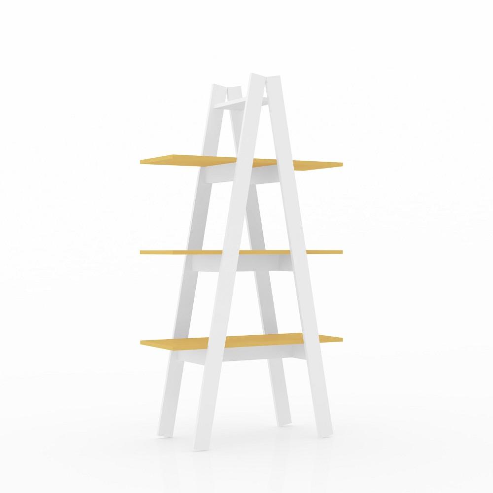 Estante Escada 3 Prateleiras RT 3047 Branco/Amarelo