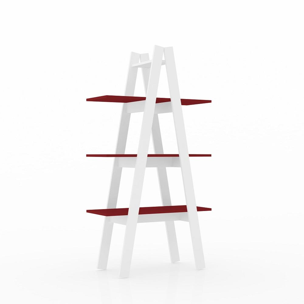 Estante Escada 3 Prateleiras RT 3047 Branco/Vermelho