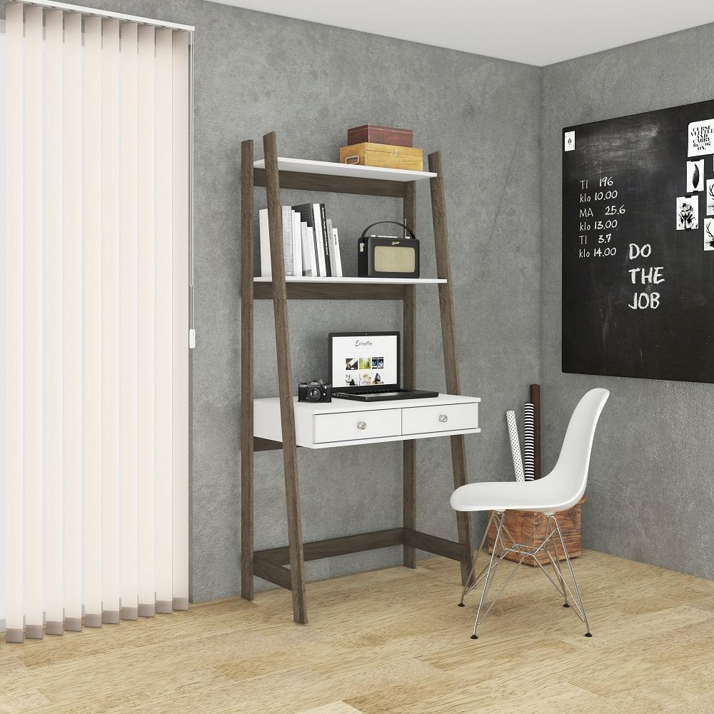 Estante  Escrivaninha com 2 Gavetas RT 3120 Rústico e Branco