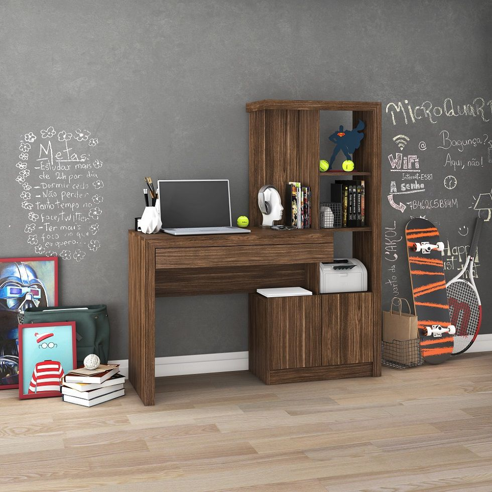 Estante Escrivaninha ME4143 Home Office Tecno Mobili Nogal