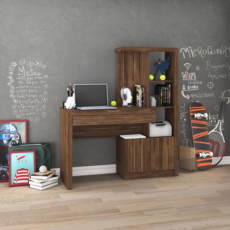 Estante Escrivaninha ME4143 Home Office Tecno Mobili Nogal  - Móveis Dallas