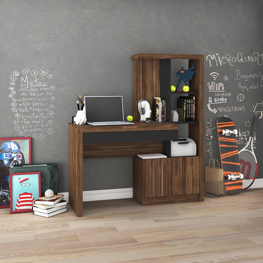 Estante Escrivaninha ME4143 Home Office Tecno Mobili Nogal Preto  - Móveis Dallas