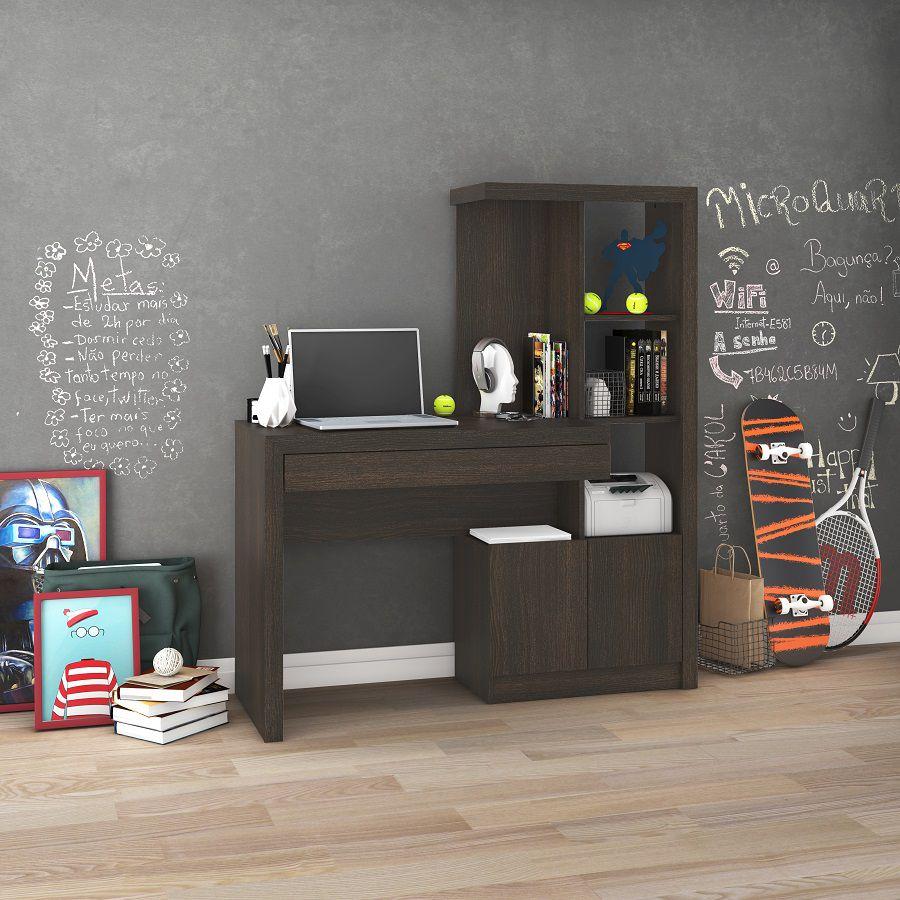 Estante Escrivaninha ME4143 Home Office Tecno Mobili Tabaco