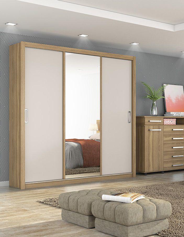 Guarda Roupa Casal com Espelho 3 Portas Residence Demóbile Amendola Branco