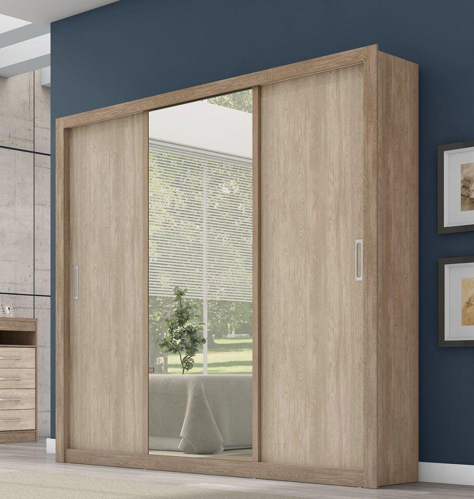 Guarda Roupa Casal com Espelho 3 Portas Residence Demóbile Nogal Vanilla Touch