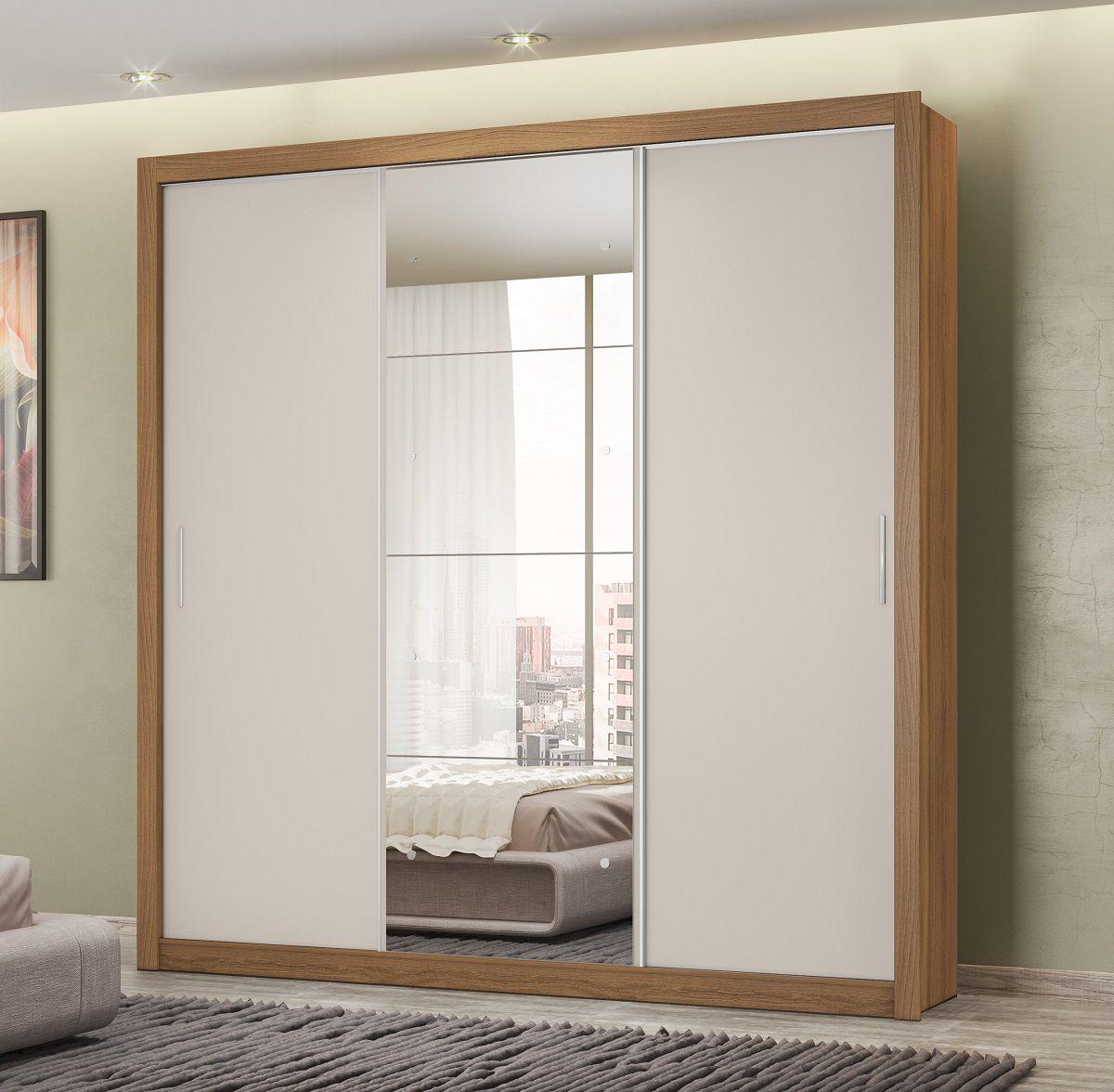 Guarda Roupa Casal com Espelho 3 Portas Residence II Demóbile Amendola Off White