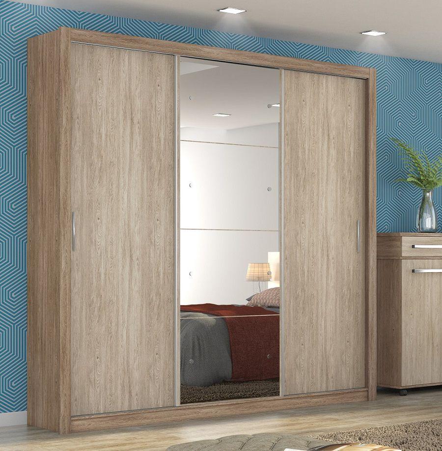 Guarda Roupa Casal com Espelho 3 Portas Residence II Demóbile Nogal Vanilla Touch