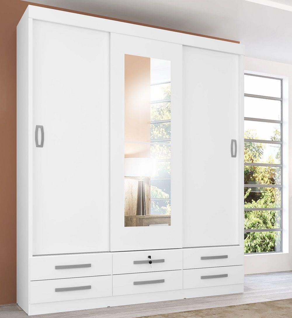 Guarda-roupas com 3 Portas de Correr Lisboa 641 Branco Genial Flex