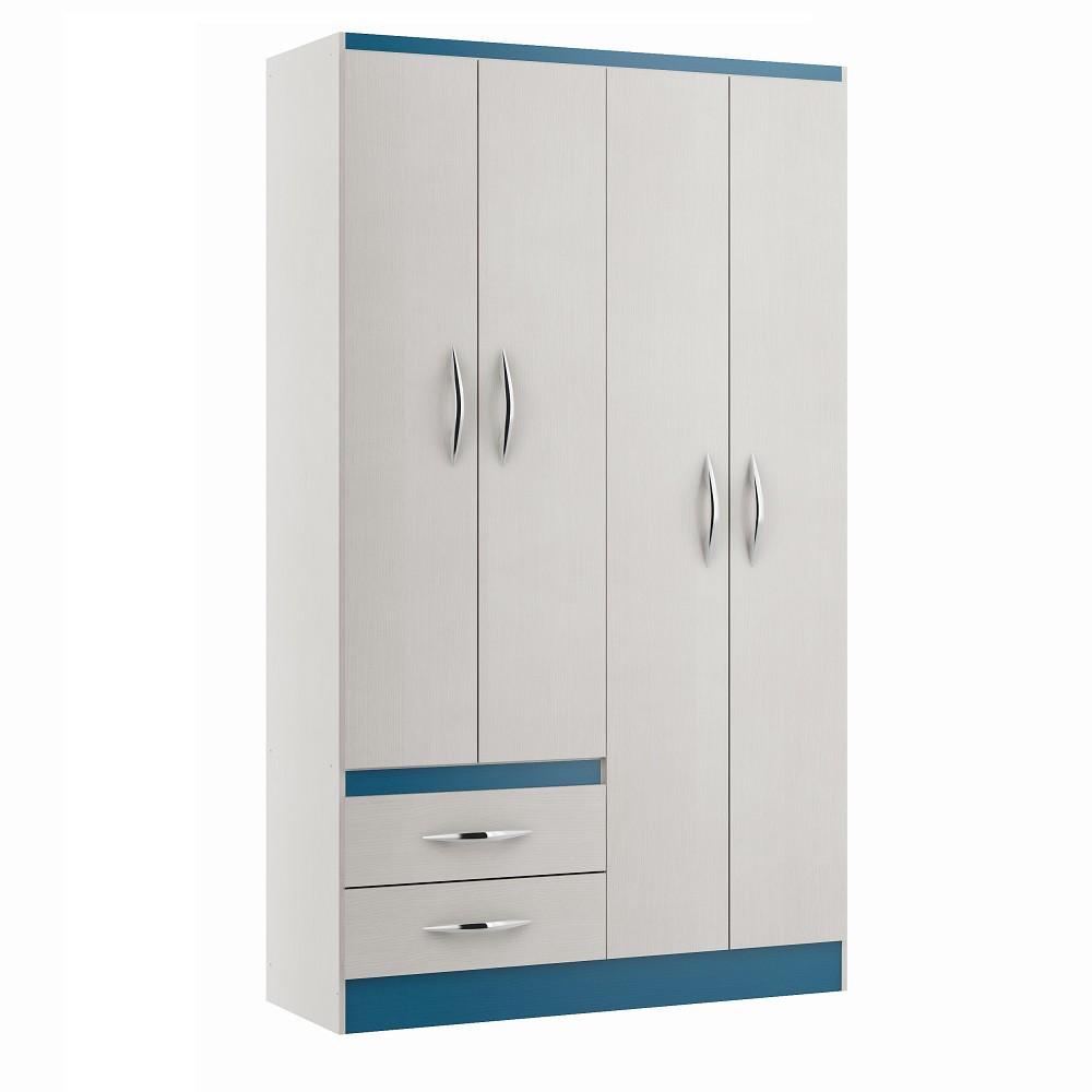 Guarda- Roupas com 4 Portas 2074 Branco e Azul Soluzione