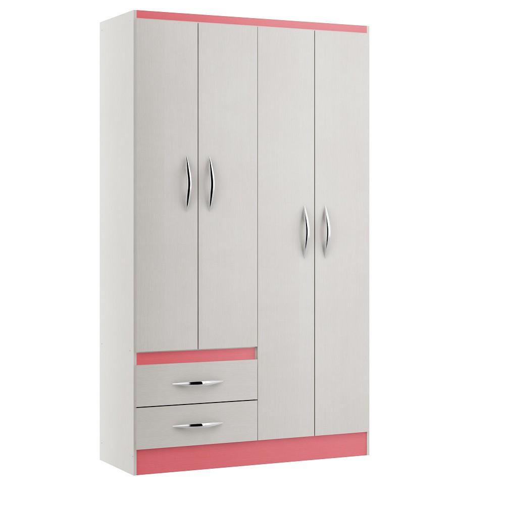 Guarda- Roupas com 4 Portas 2074 Branco e Rosa Soluzione