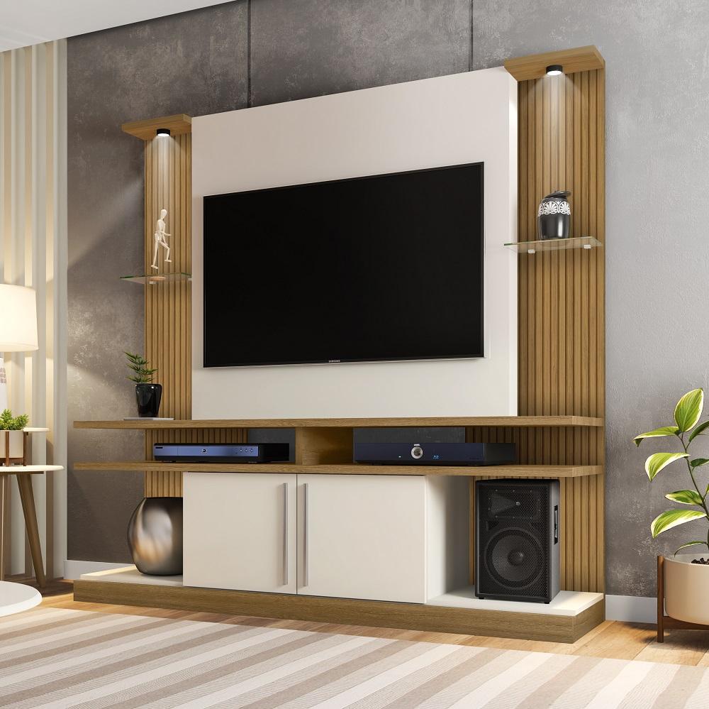Home York LED com 2 Portas e Nichos Cinamomo, Off-White e Ripado