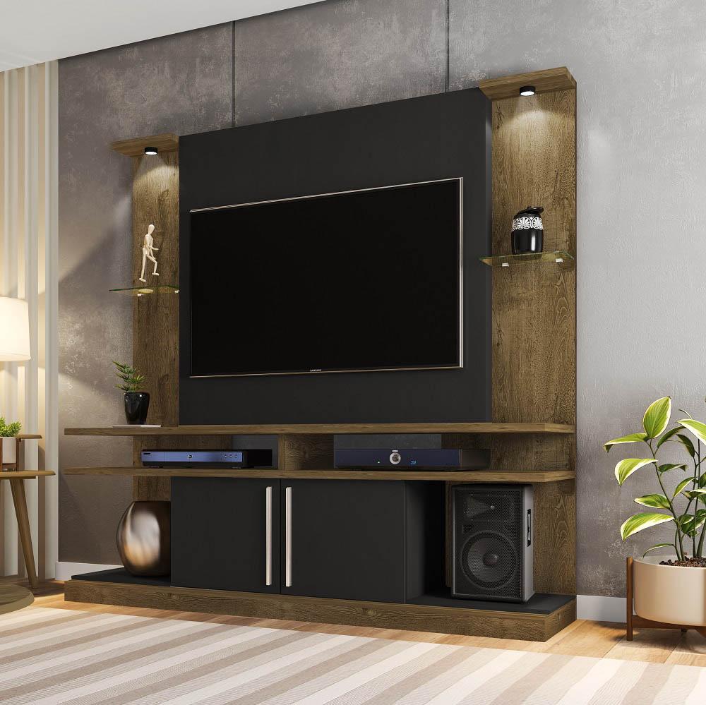 Home York LED com 2 Portas e Nichos Madeira Rústica e Preto Fosco