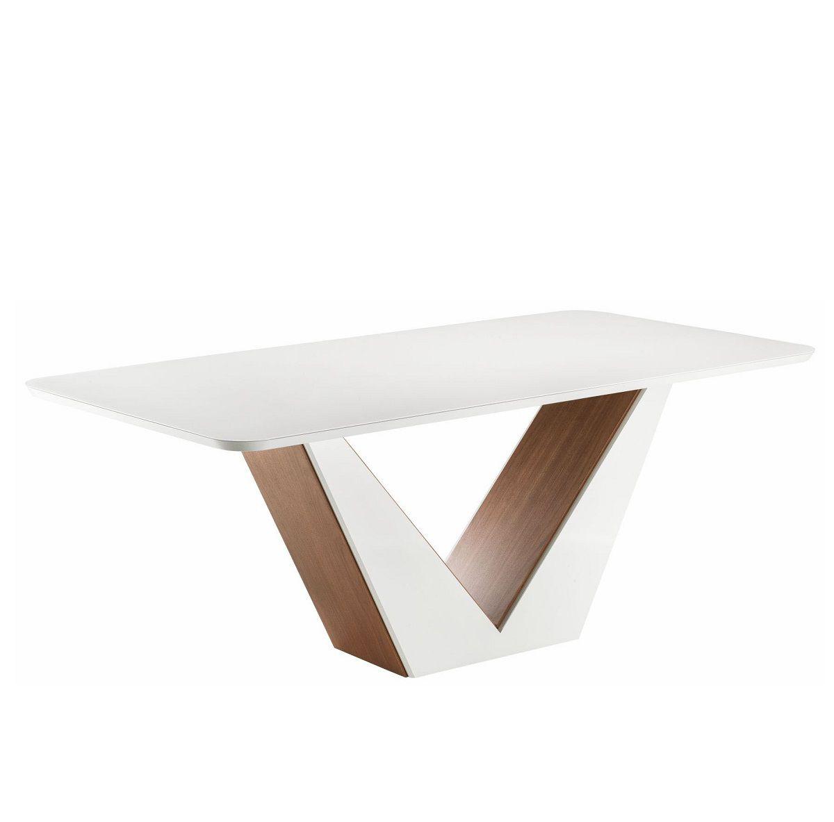 Mesa de Jantar de 6 Lugares Canto Redondo com Vidro Dália Imbuia Off White