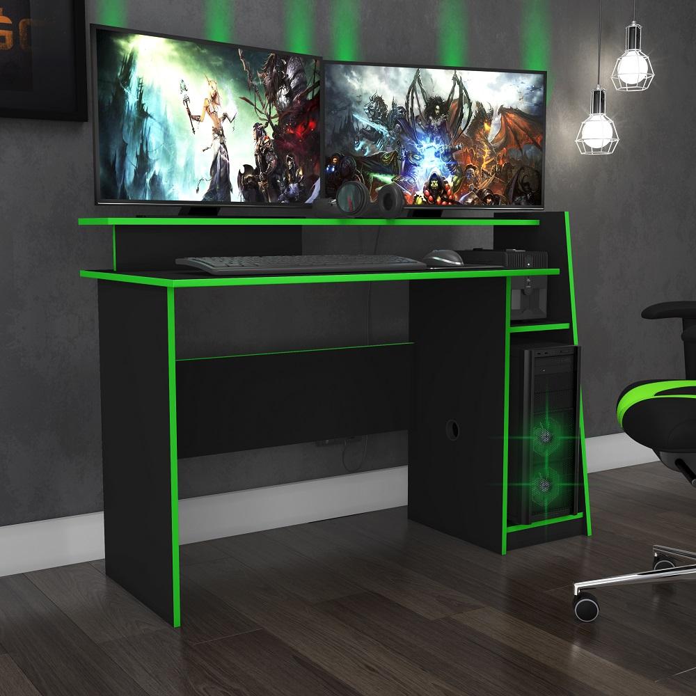 Mesa Gamer Evolution Preto e Verde