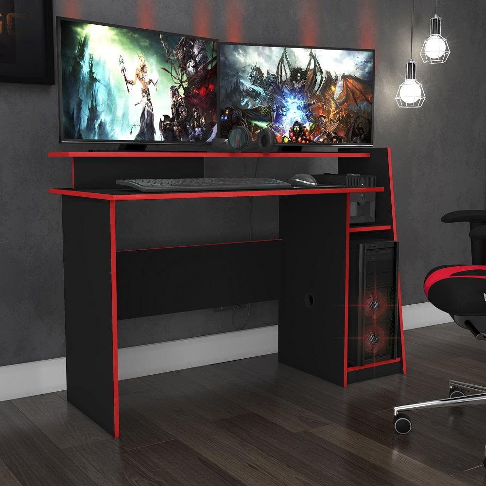 Mesa Gamer Evolution Preto e Vermelho