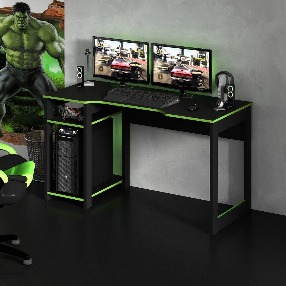 Mesa para Computador Desk Gamer ME4152 Preto e Verde