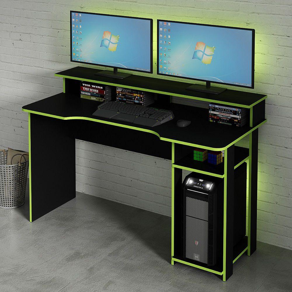 Mesa para Computador Desk Gamer ME4153 Preto e Verde