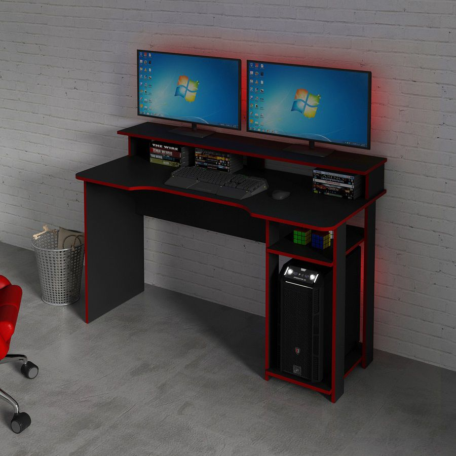 Mesa para Computador Desk Gamer ME4153 Preto e Vermelho