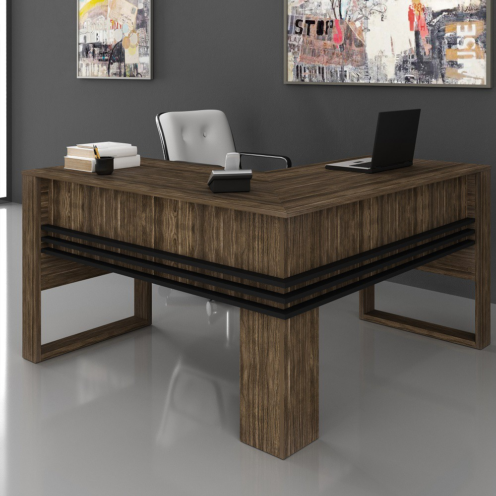 Mesa para Escritório Angular ME4145 Nogal Preto Tecno Mobili