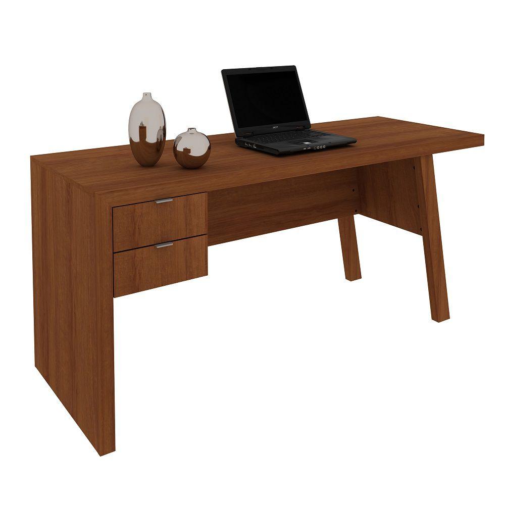Mesa para Escritório com 2 Gavetas ME4122 Tecno Mobili Amêndoa