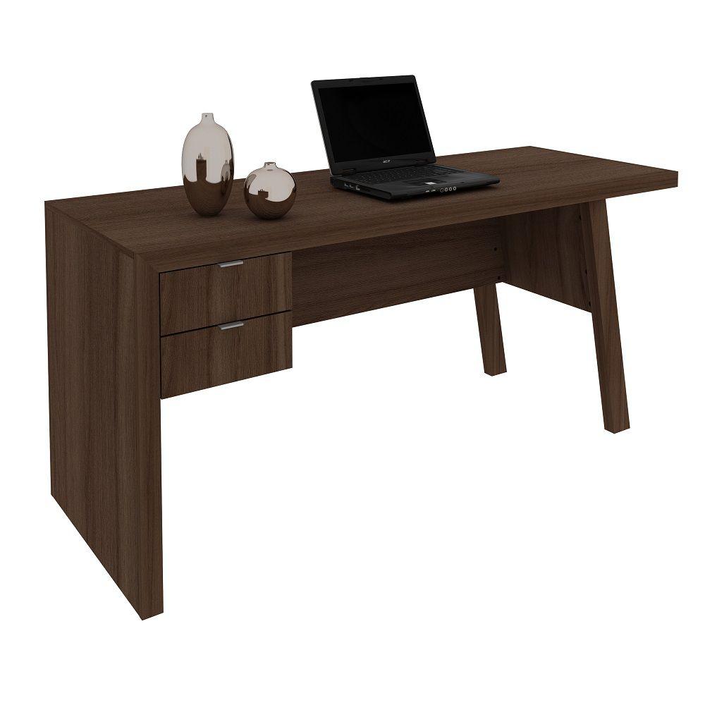 Mesa para Escritório com 2 Gavetas ME4122 Tecno Mobili Carvalho e Fendi