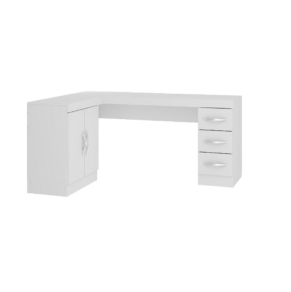 Mesa para Escritório de Canto Slim com 1 Gaveta 0703 Branco Soluzione
