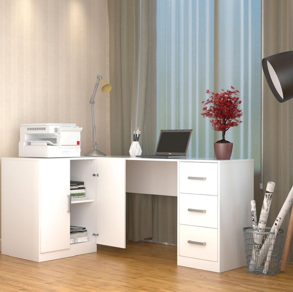 Mesa para Escritório em L com 3 Gavetas e Armário Branco Appunto KIT1000-10