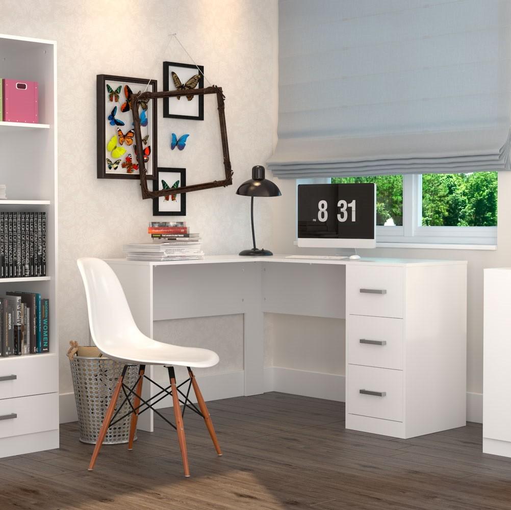 Mesa para Escritório em L com 3 Gavetas Office Plus Appunto Branco MES0502-10