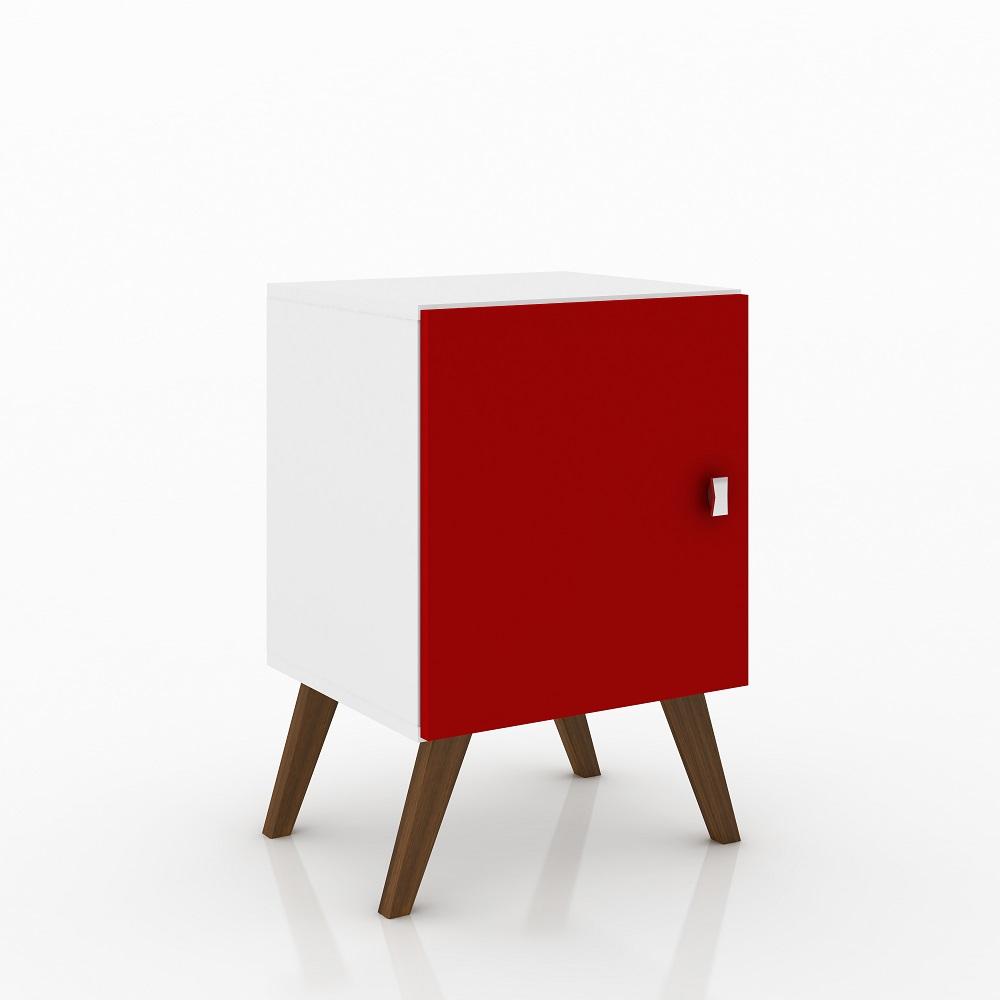 Nicho Cubo Retro com Porta RT 3012 Branco e Vermelho