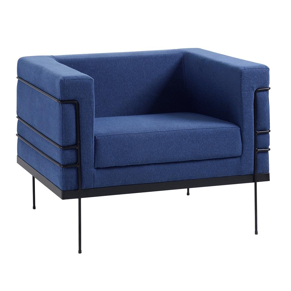 Poltrona Estofada Le Corbusier 2064 Azul Marinho