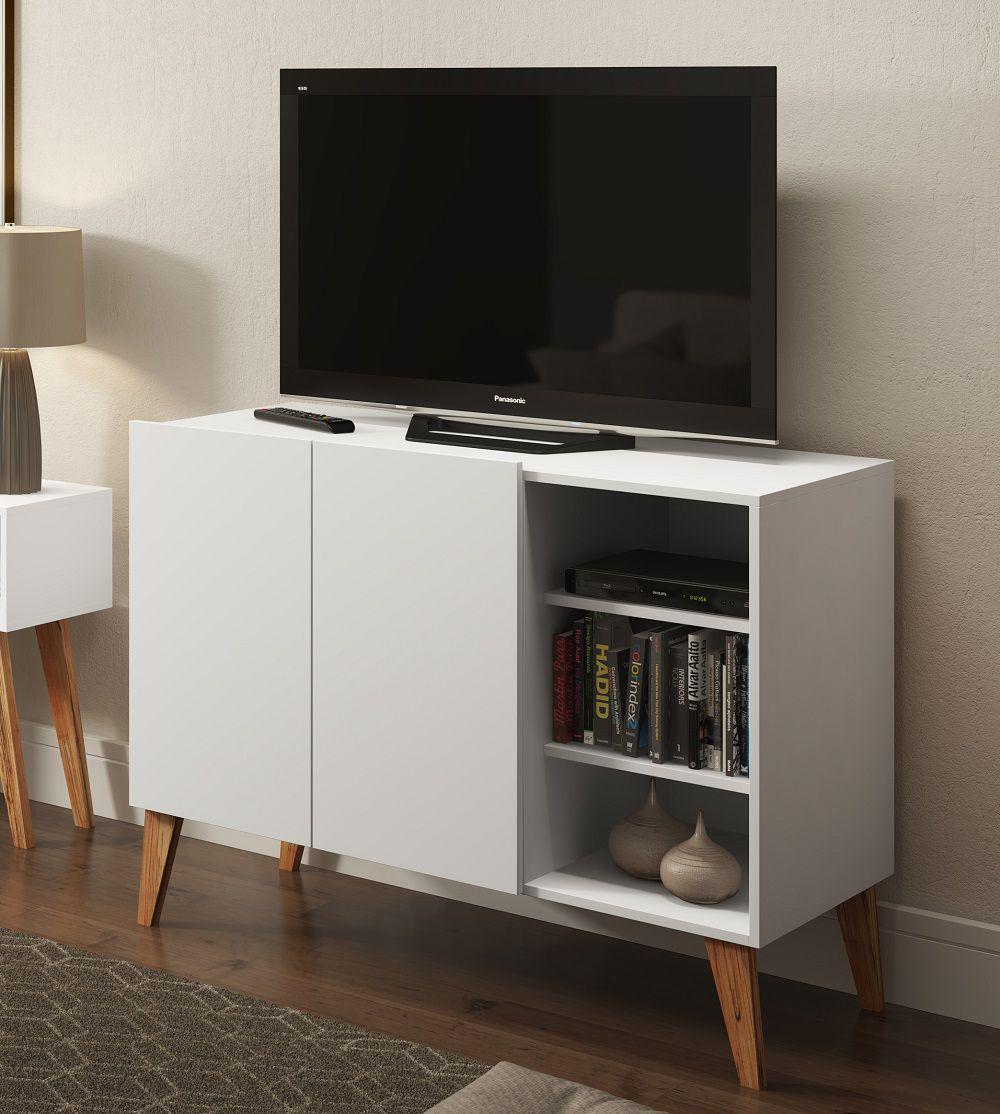 Rack para TV com 2 Portas e Prateleiras 1003 Branco