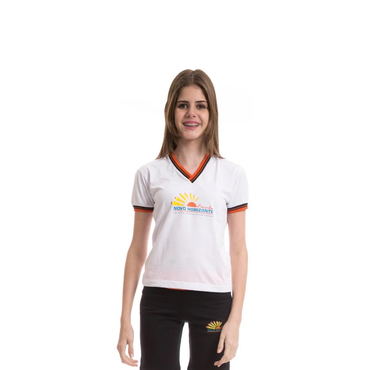 Camiseta Baby Look em poliviscose. Colégio Novo Horizonte.