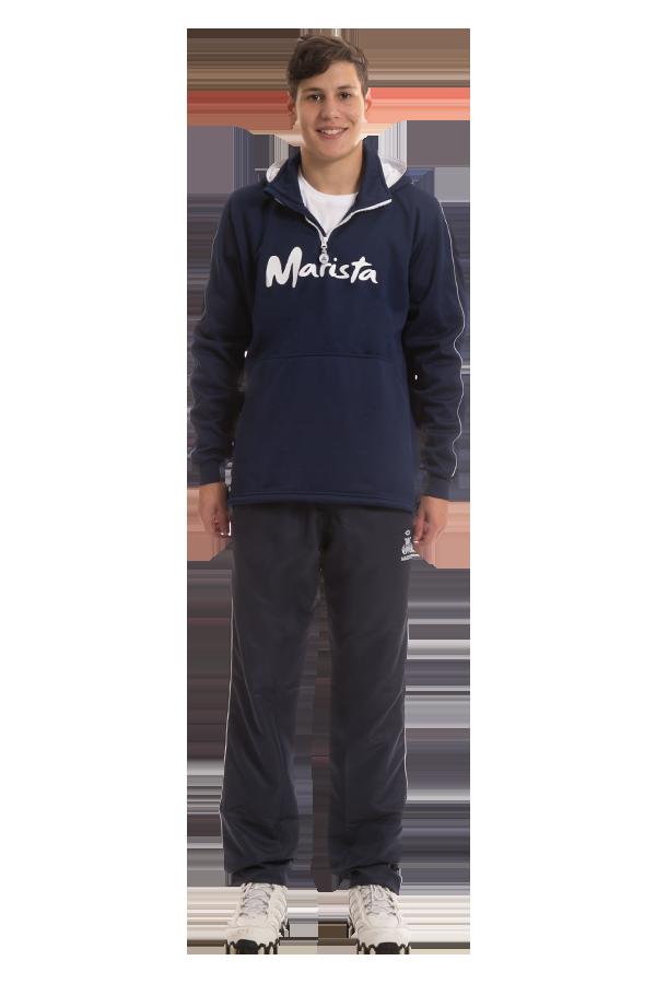Blusão masculino com capuz em moletom - Colégio Marista. Ref. G35