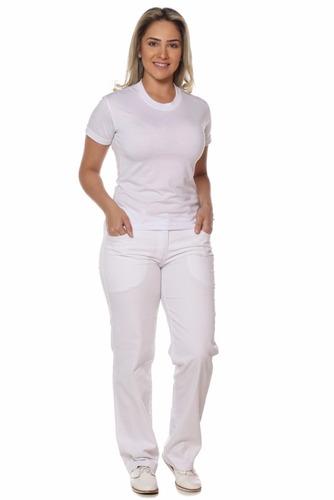 Calça branca feminina cós meio elástico