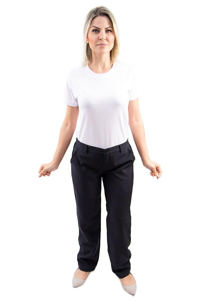 Calça profissional operacional feminina cós meio elástico